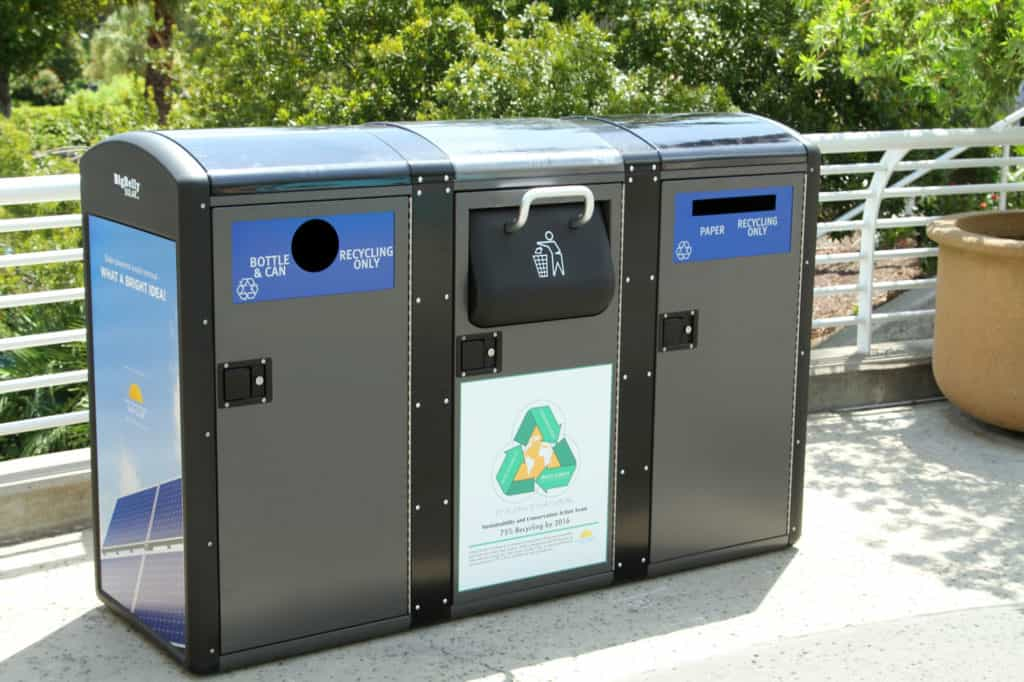 Solar powered trash bins recycling composting