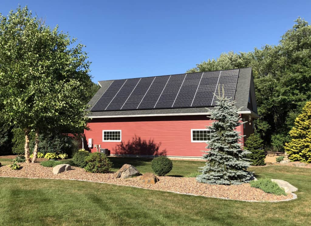 Red Barn Solar Panels Backyard
