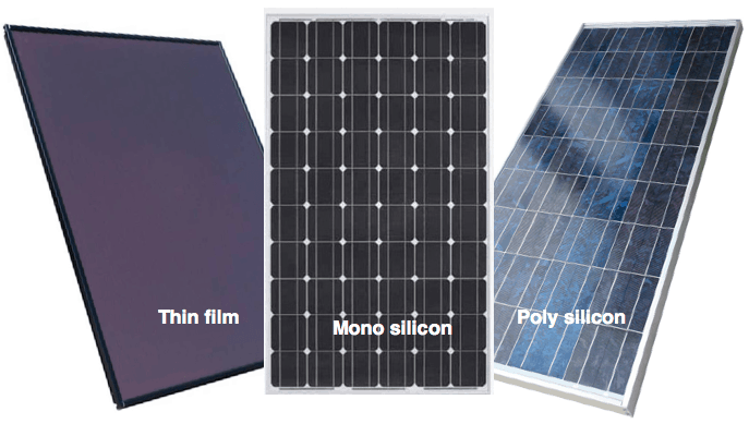 thin film, mono silicon, and poly silicon solar panels
