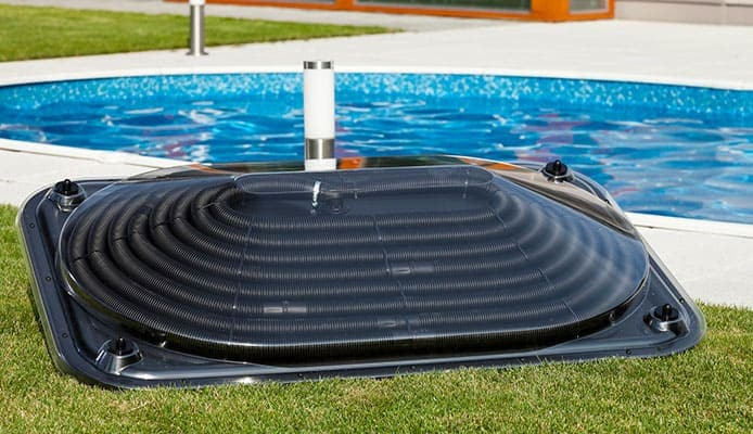 Solar Pool Heater in Backyard